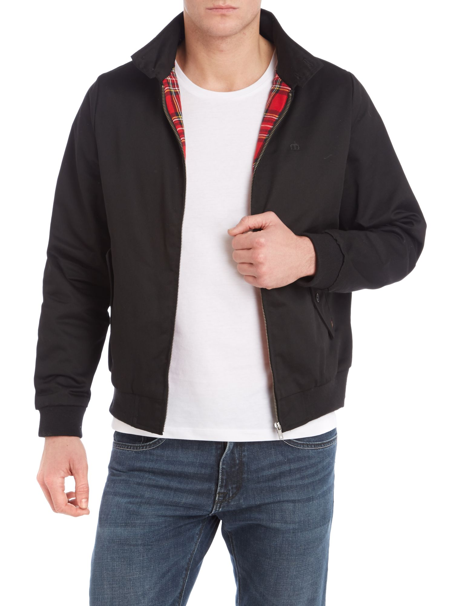 Plaid lined harrington jacket