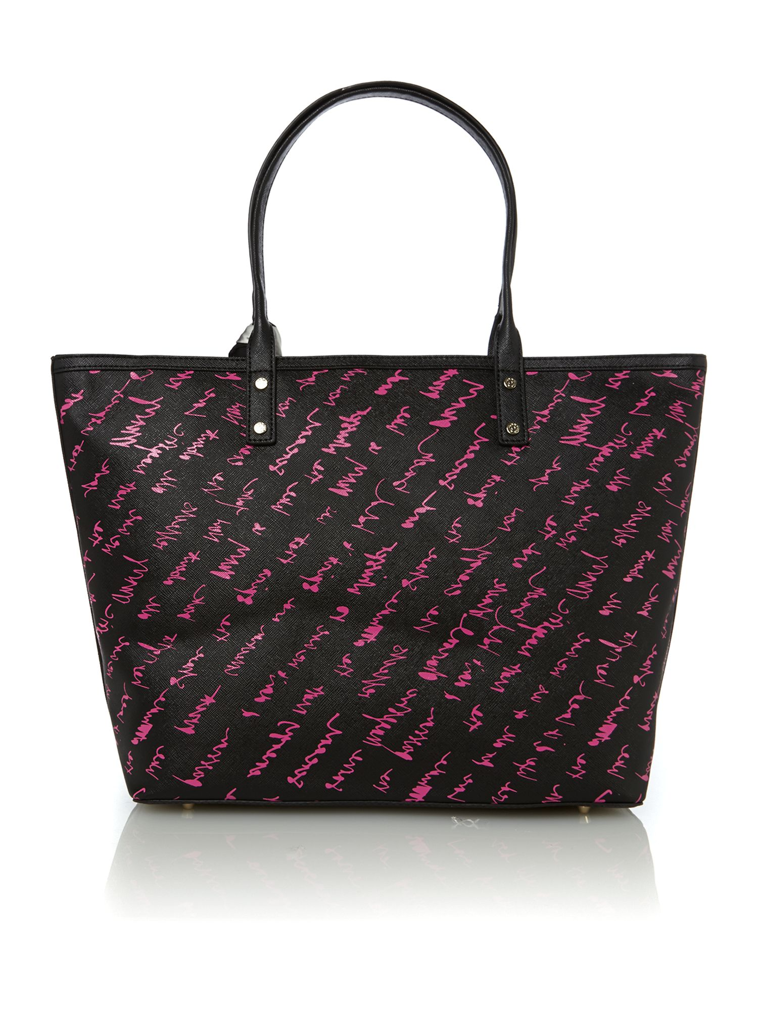 Black logo scarf tote bag