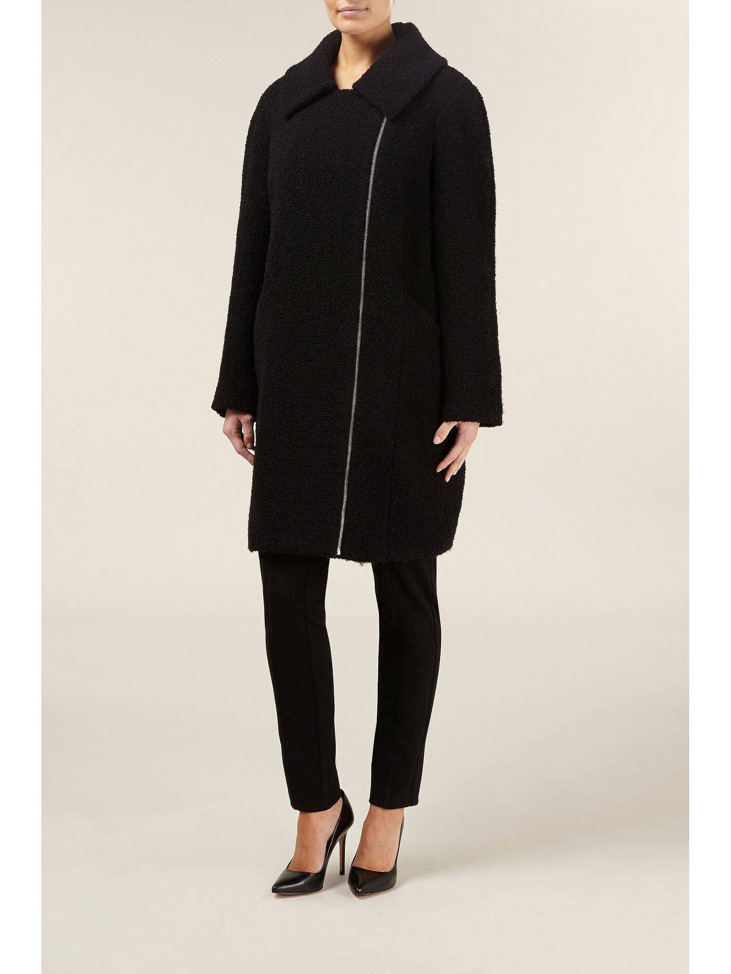 Black boucle cocoon wool coat
