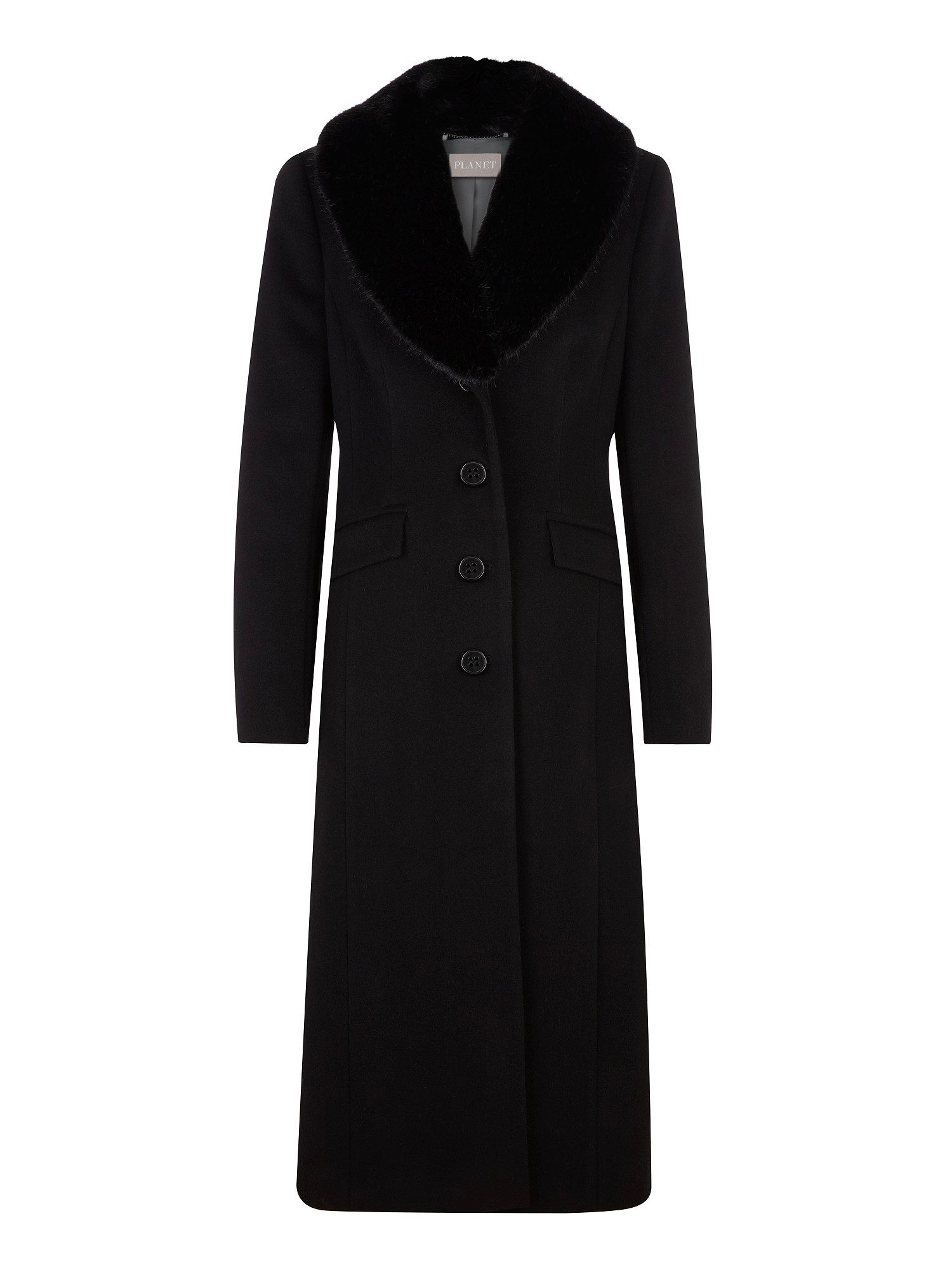 Faux Fur trim long black wool coat