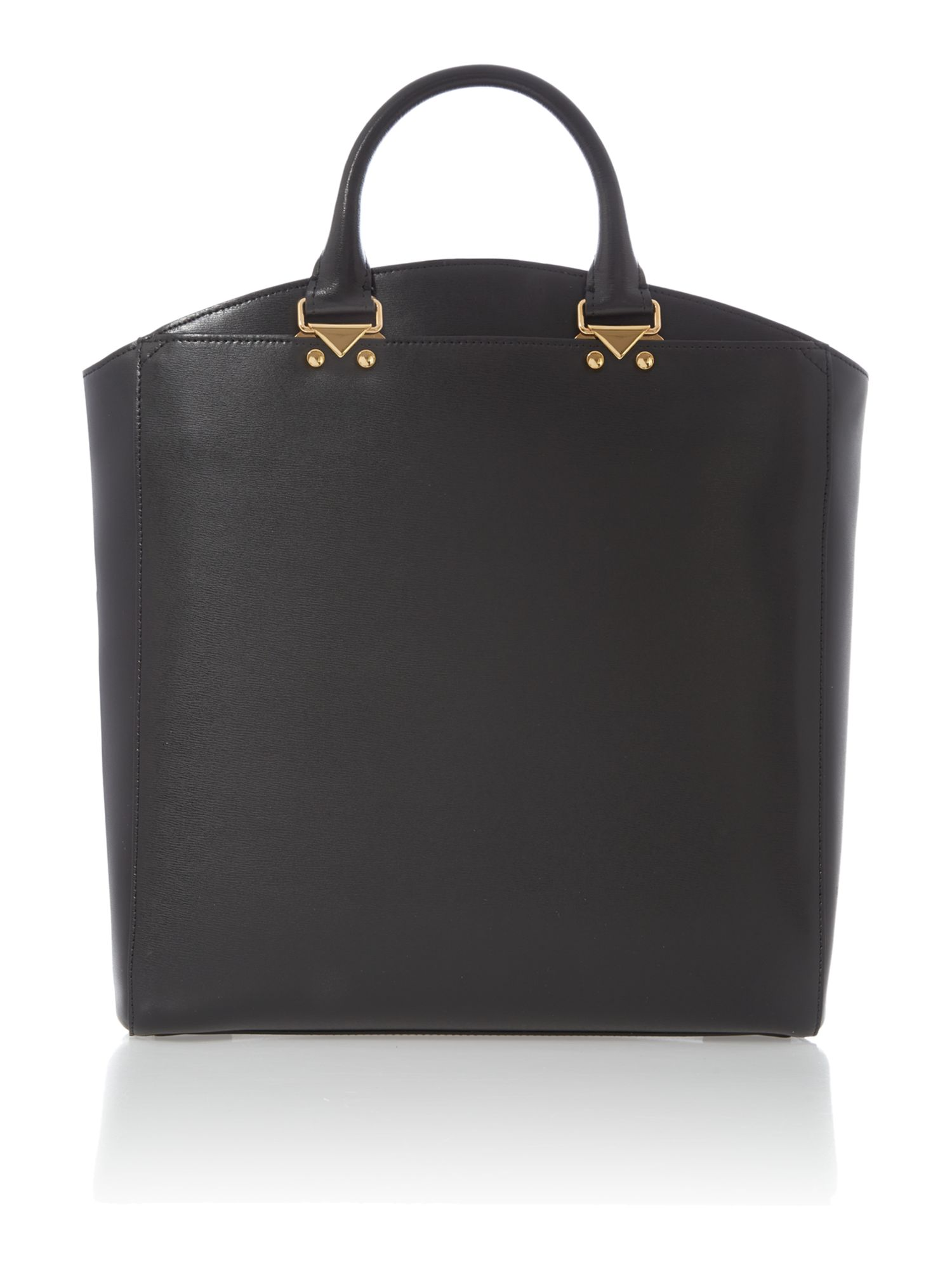 Black large leather fashion logo tote bag