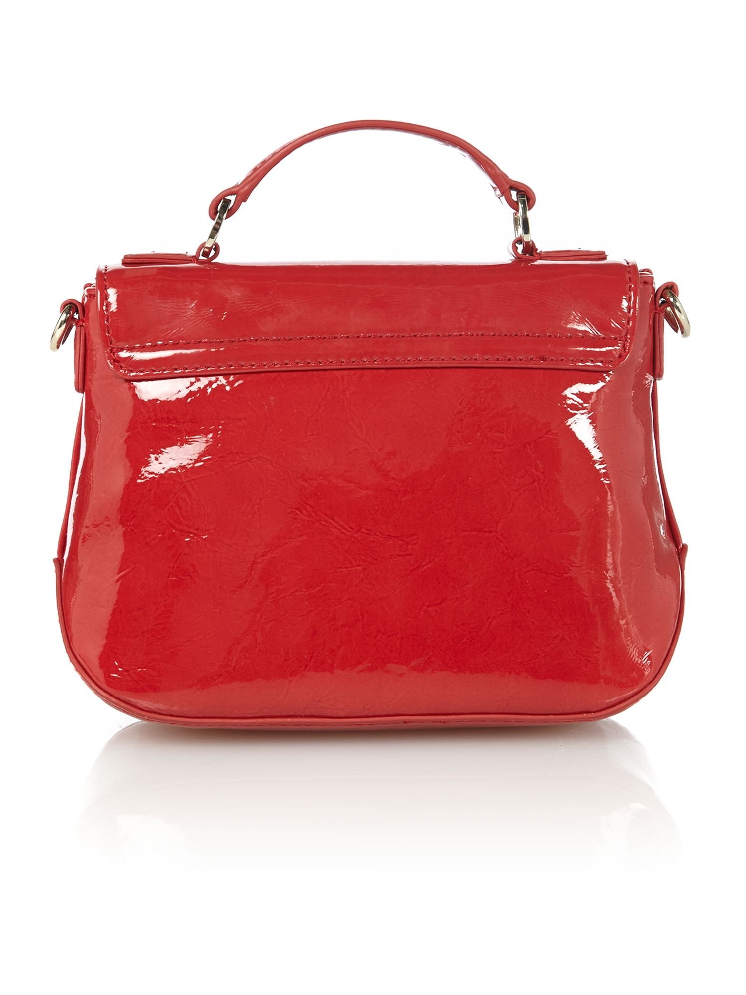 Patent logo red crossbody bag