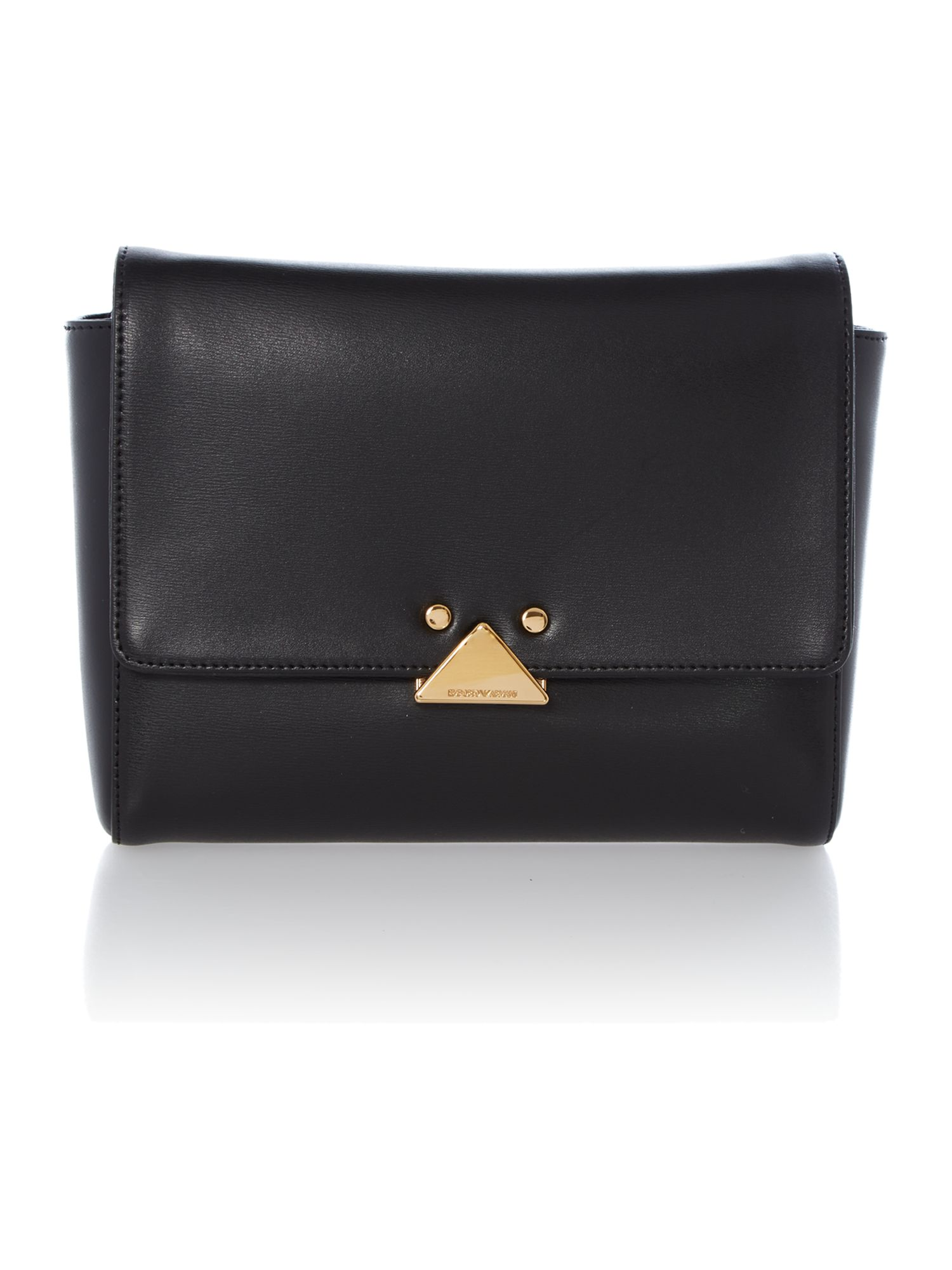 Black leather flapover crossbody bag