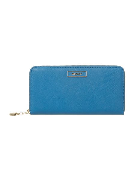 DKNY Saffiano blue large zip around purse
