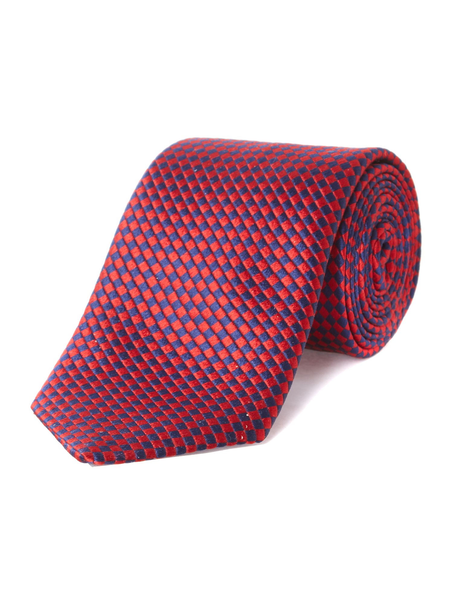 Diamond check silk tie