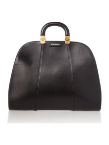 Black leather large frame tote bag