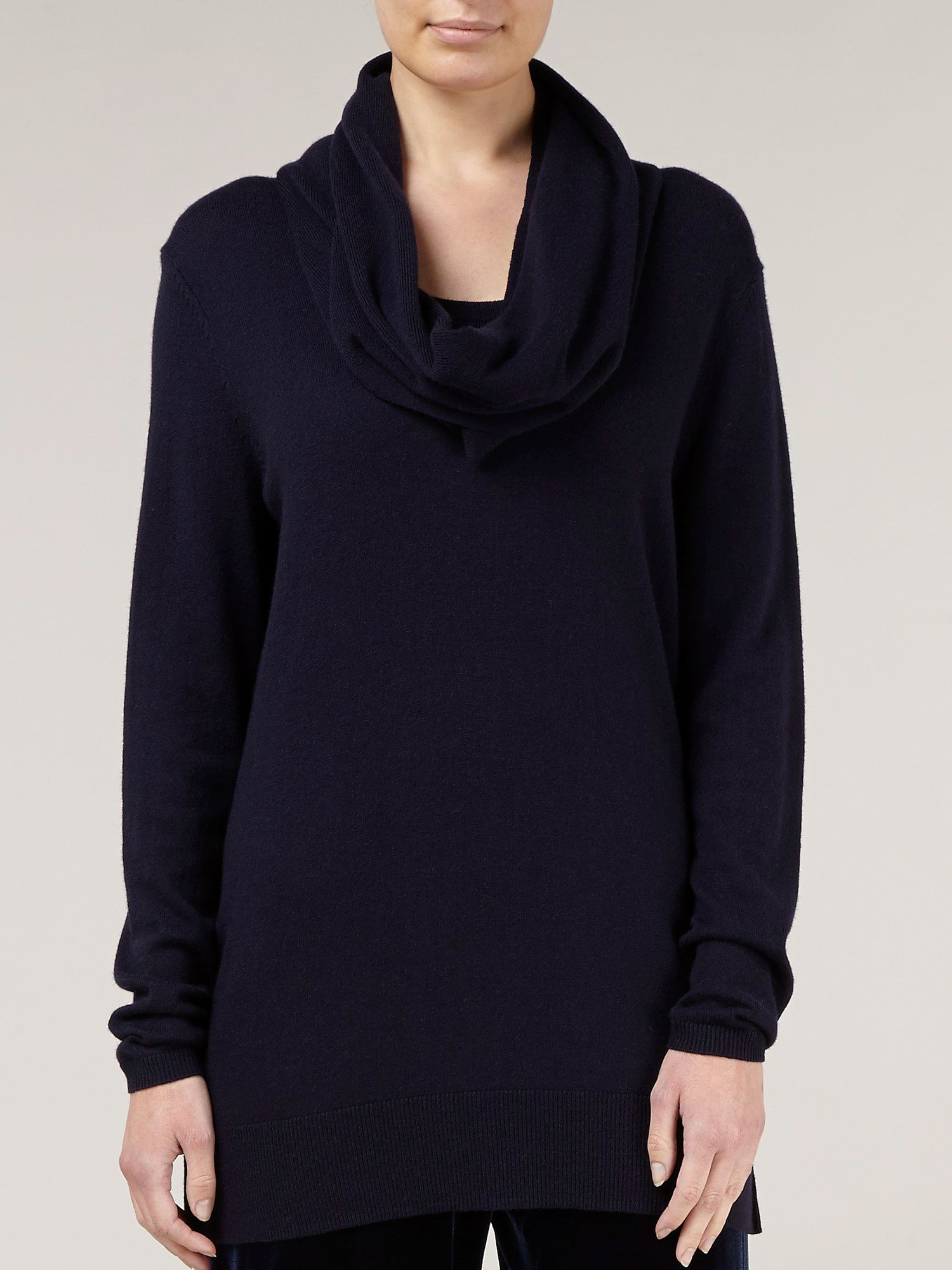 Navy knitted snood jumper