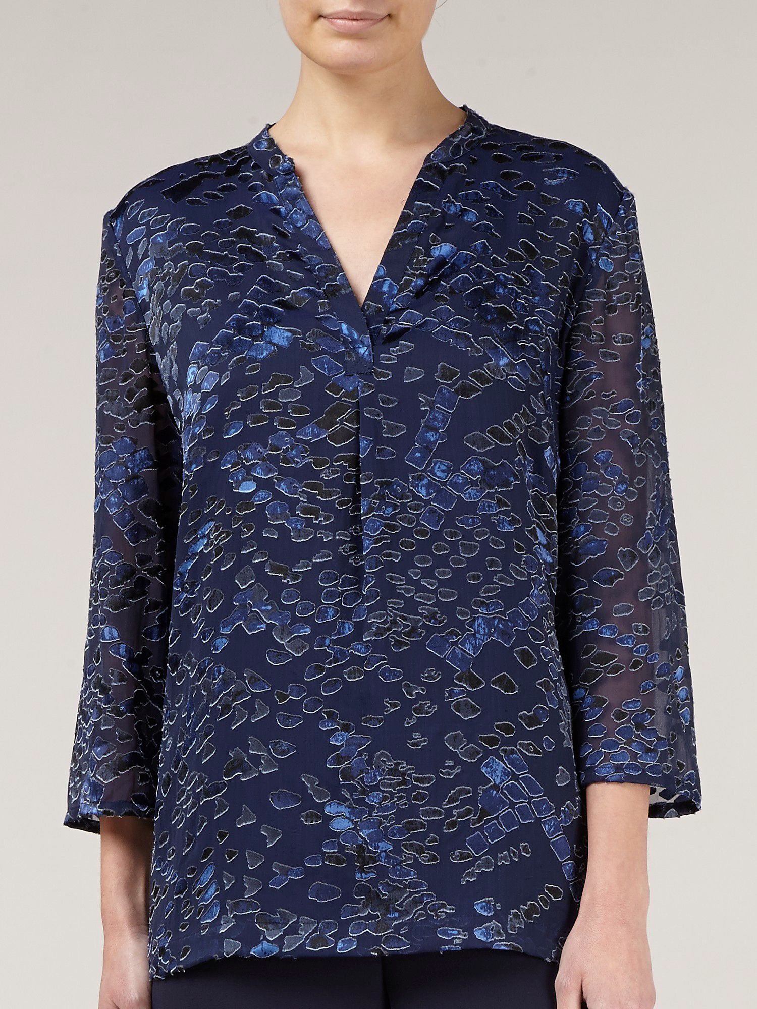 Navy devore tunic top