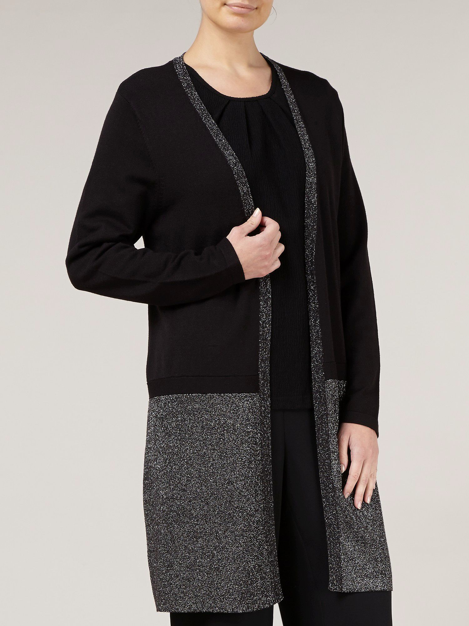 Black longline lurex cardigan
