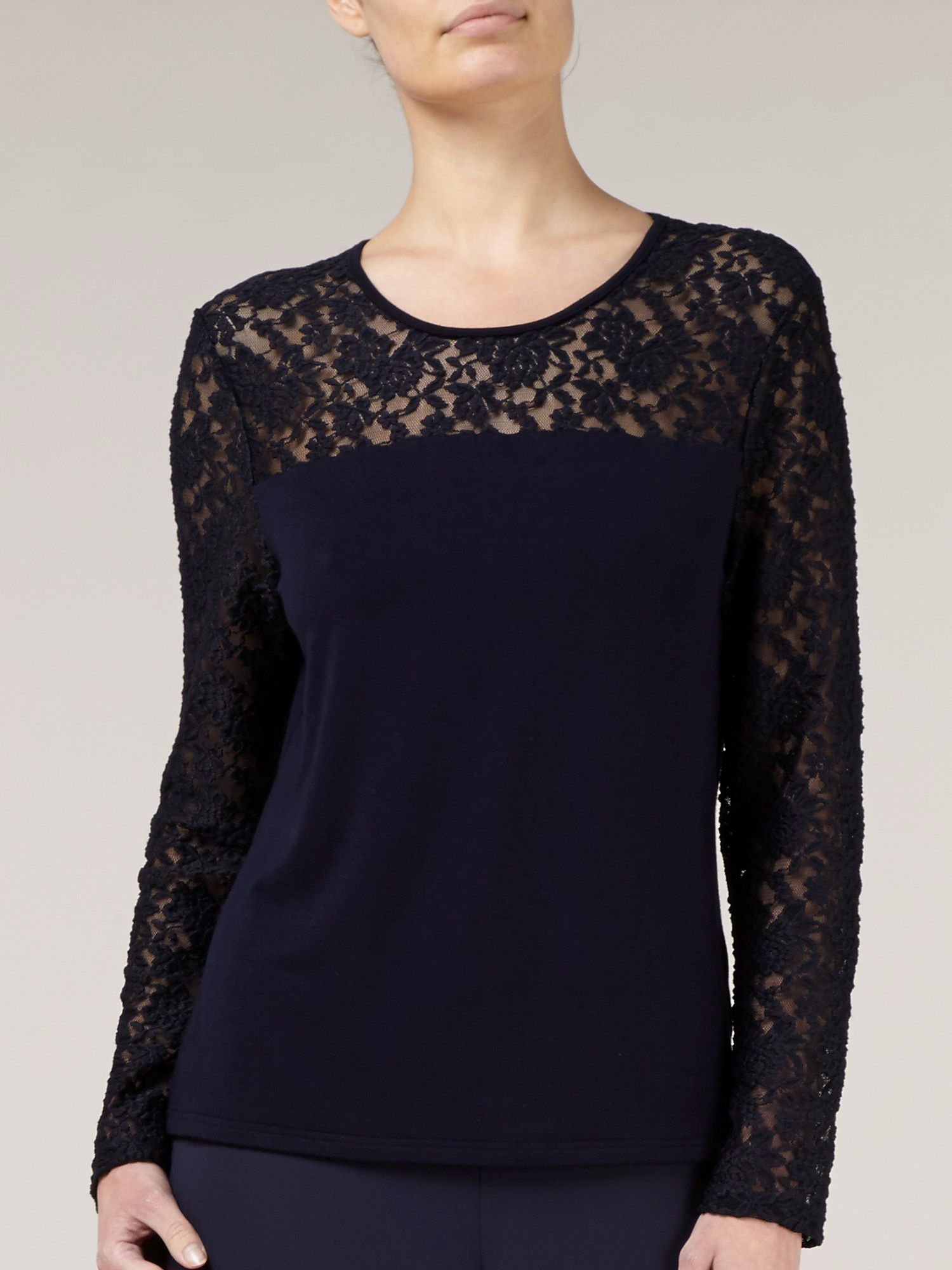 Navy lace trim top