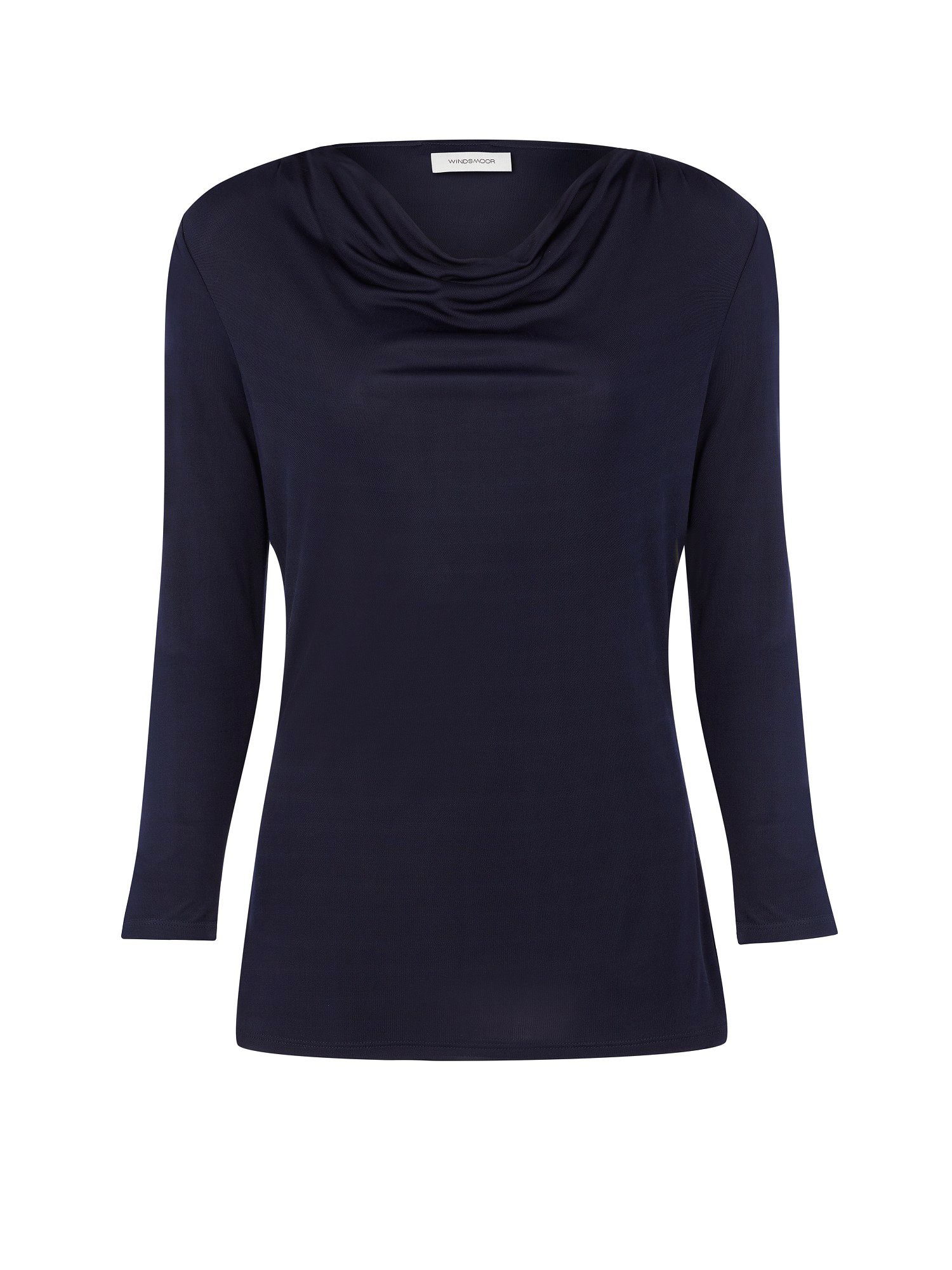 Navy cowl neck slinky top