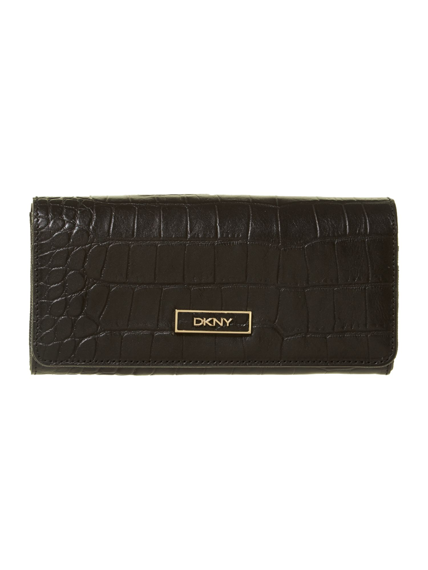 Croco black large flap over purse