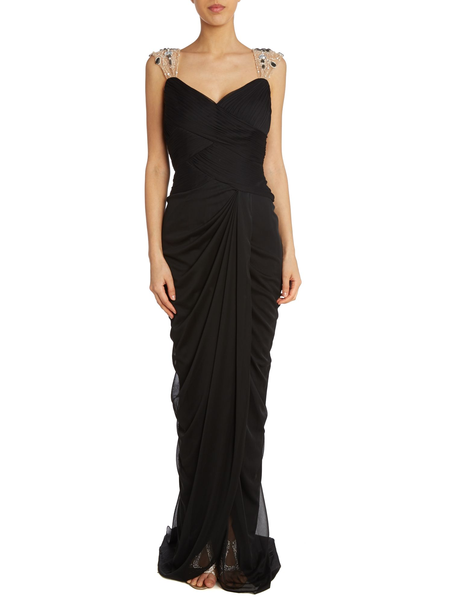 Embelished V-Neck Drape Dress