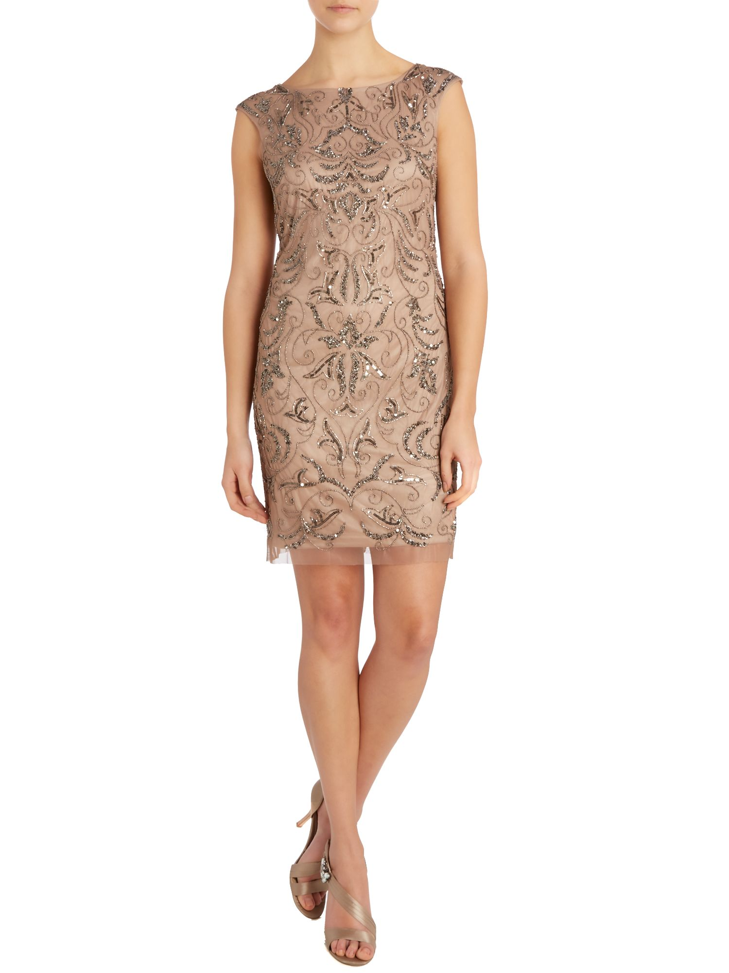 Beaded Mesh Sheath Dress