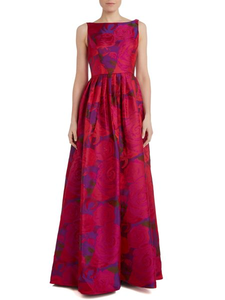 Adrianna Papell Rose Print Ball Gown