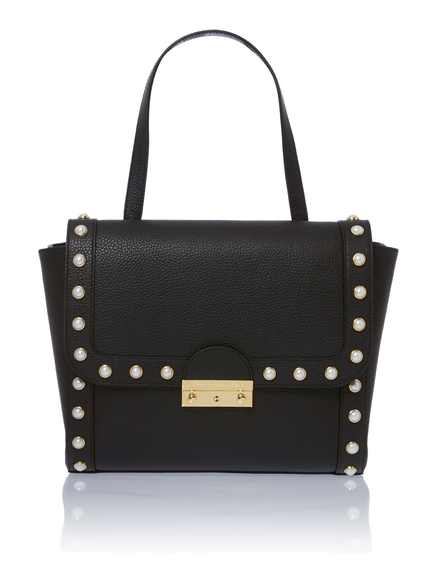 Pearl black satchel bag