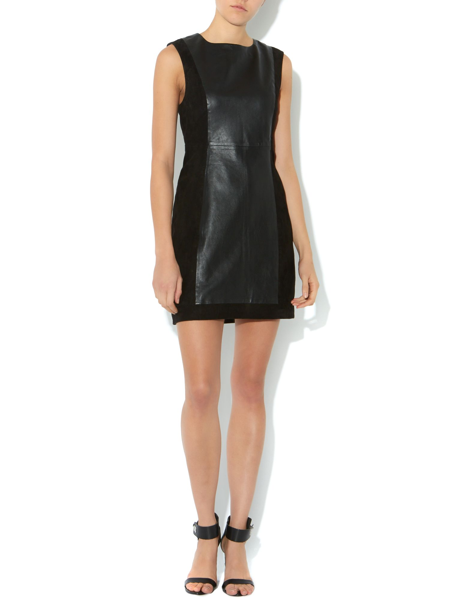 Sleeveless pu shift dress