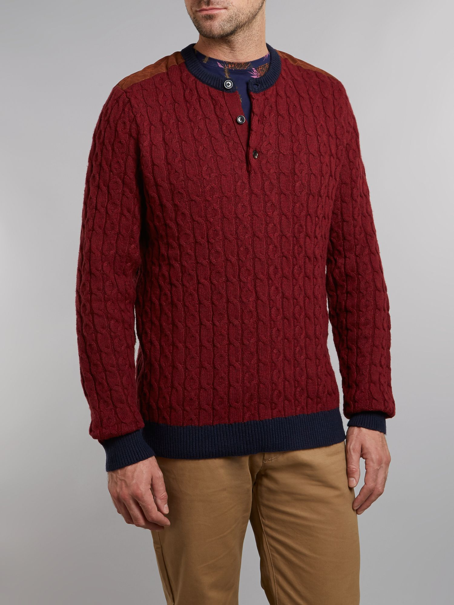 Crew neck grandad cable knit