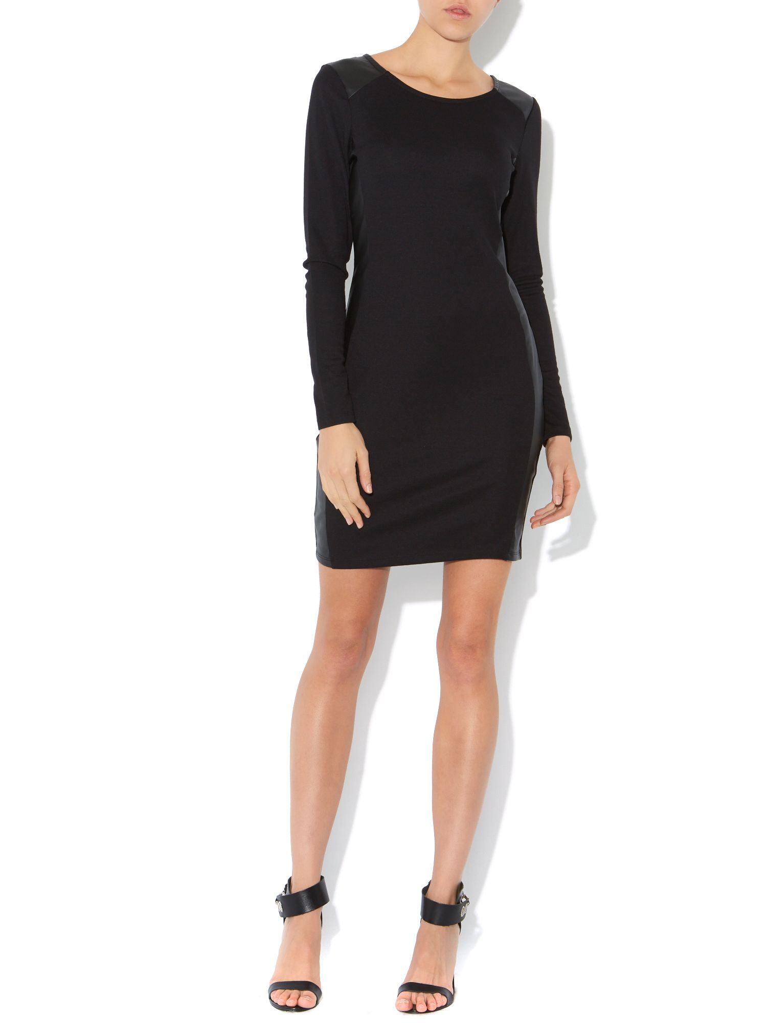 Long sleeve pu trim bodycon dress