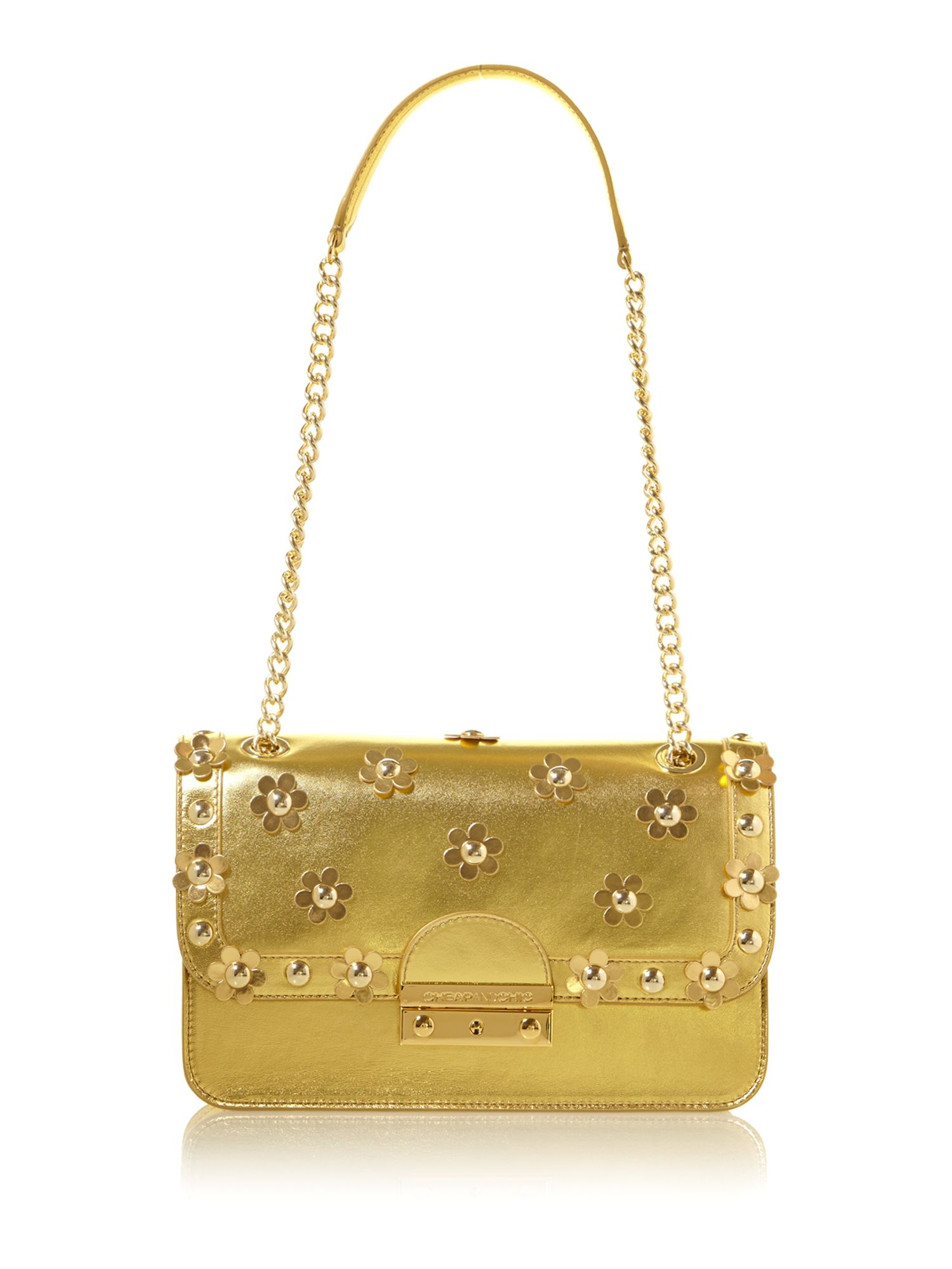 Applique gold small shoulder bag