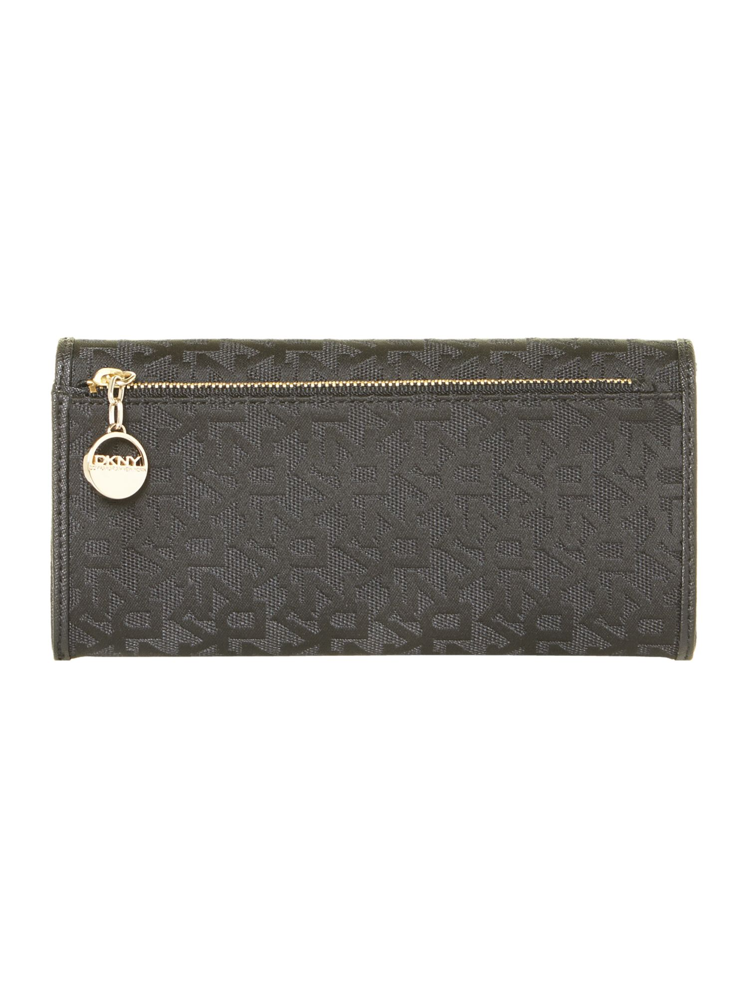 Saffiano black large flapover purse