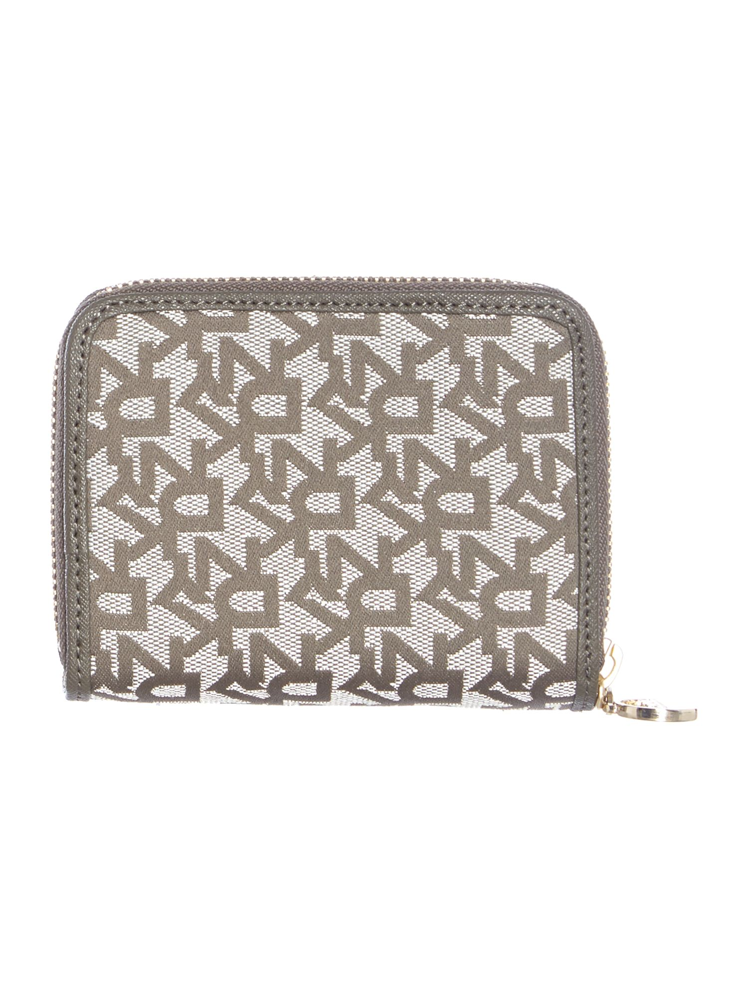 Saffiano grey small zip around purse