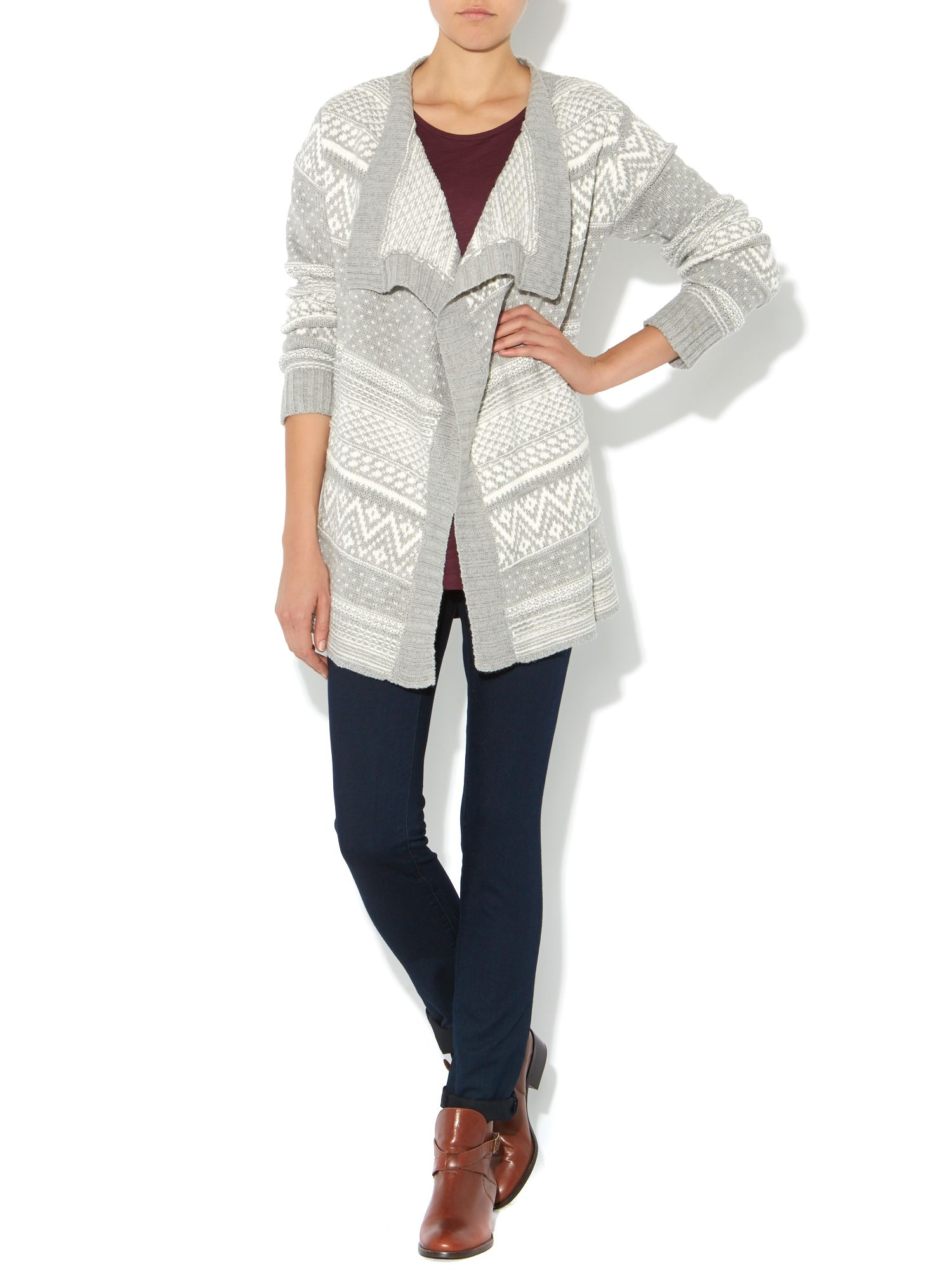 Long sleeve nordic print cardigan