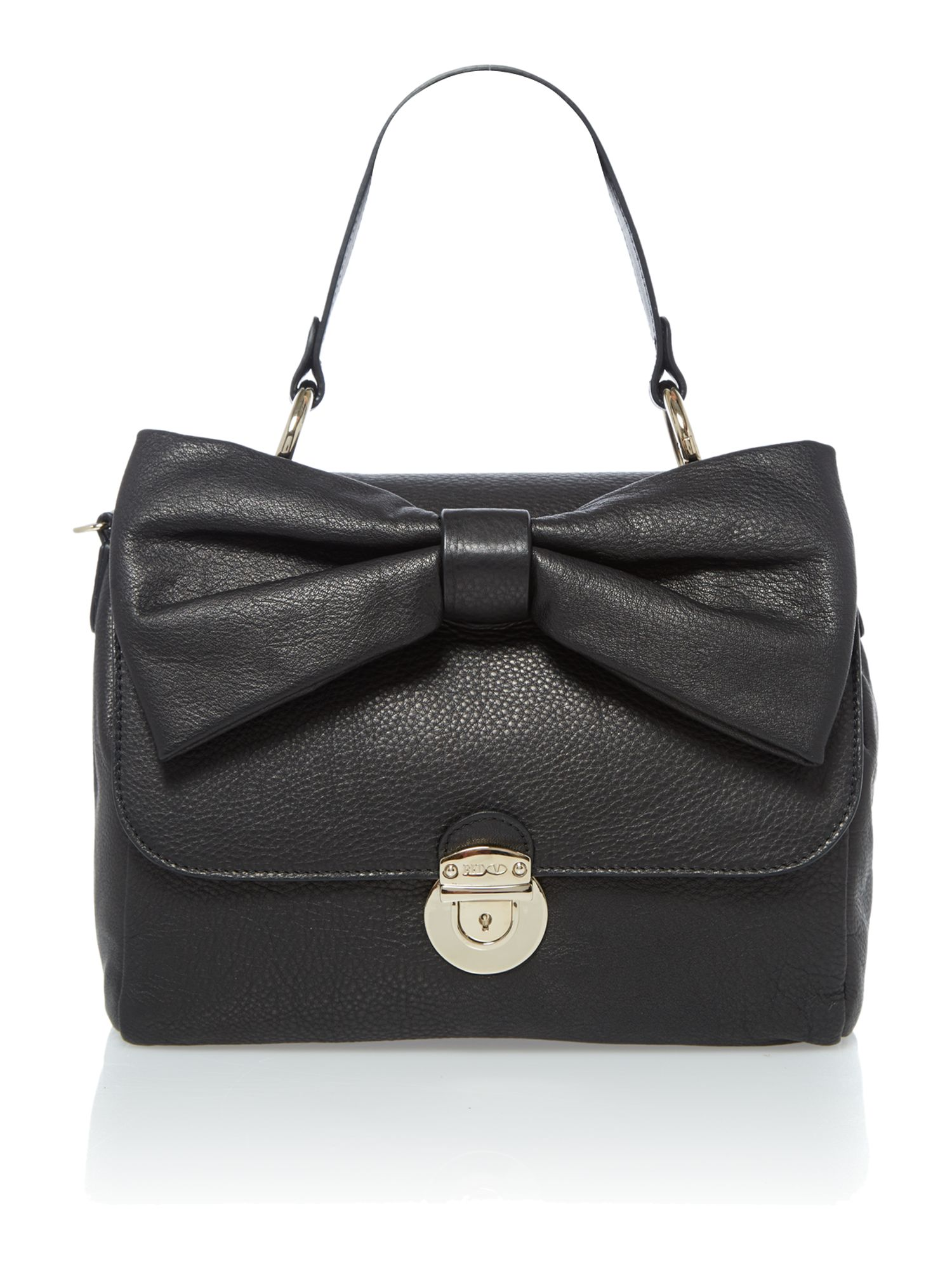 Mini shoulder black satchel bag