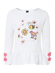 Girl`s birds and bees sticker t-shirt