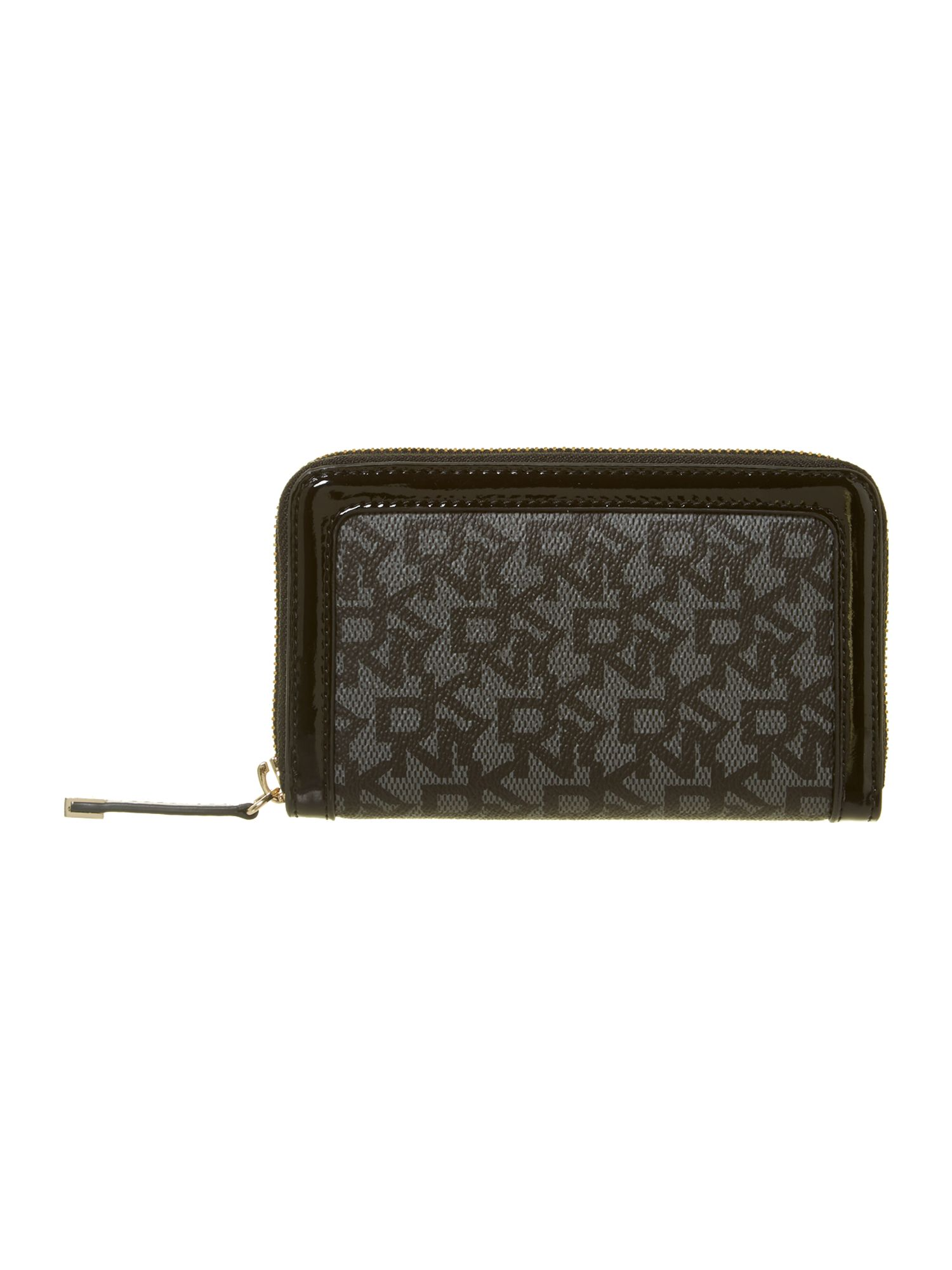 Coated logo black small zip around purse