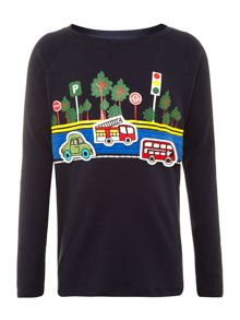 Boy`s traffic jam sticker t-shirt
