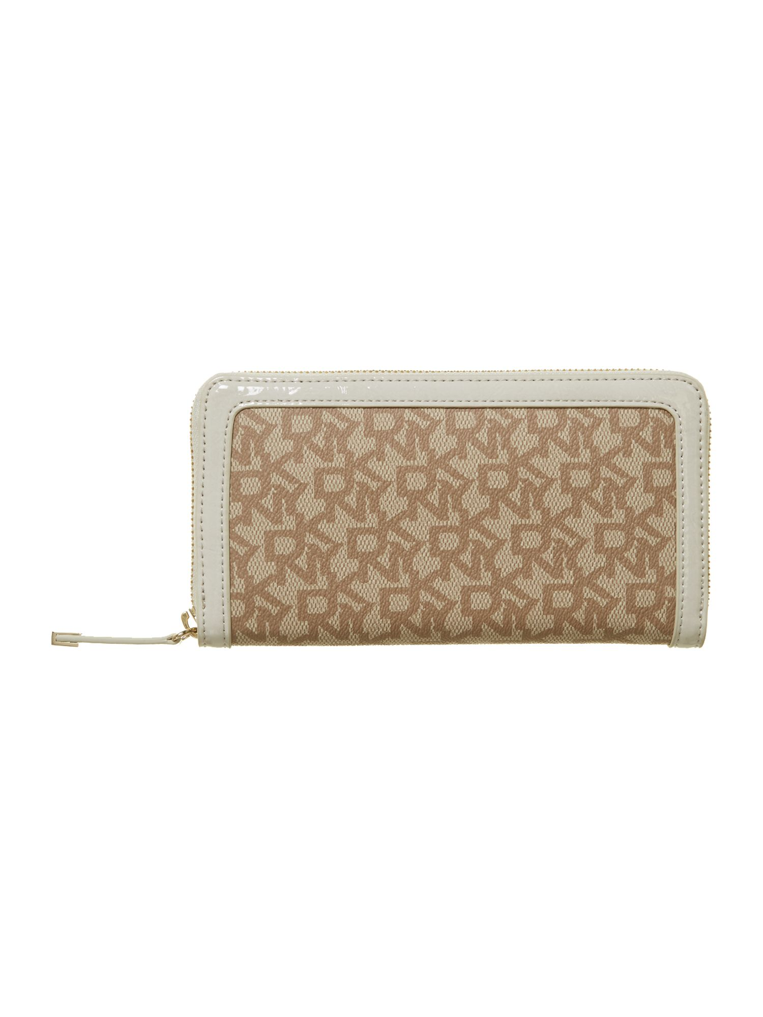 Coated logo neutral large zip around purse