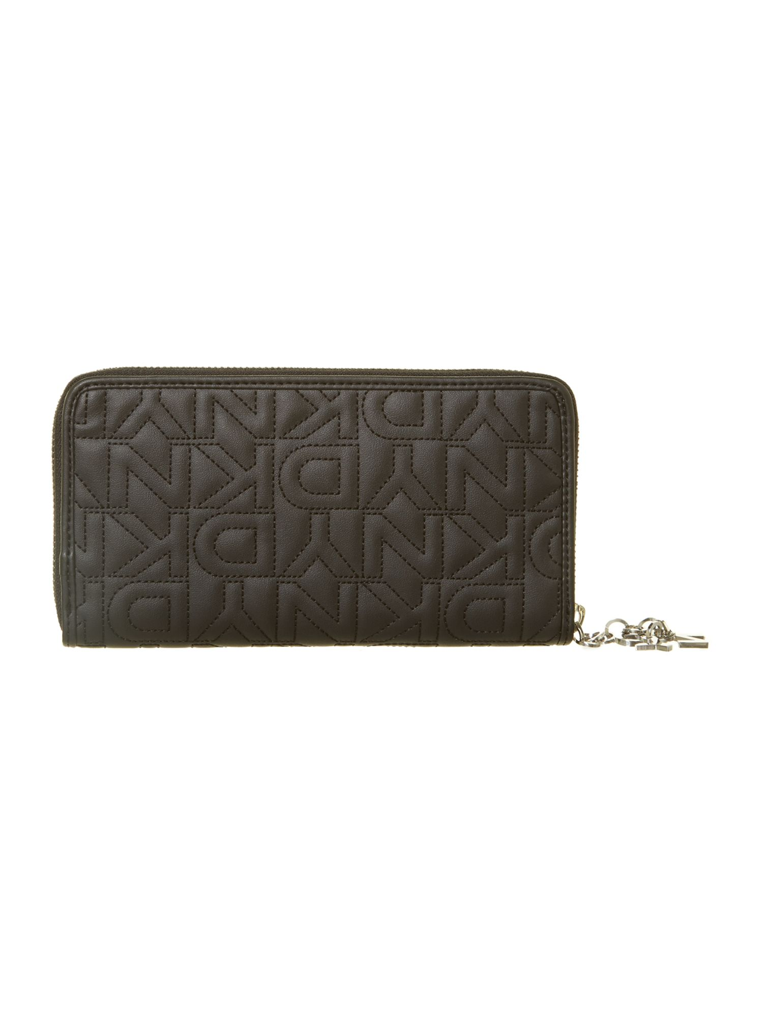 Quilted logo black large zip around purse
