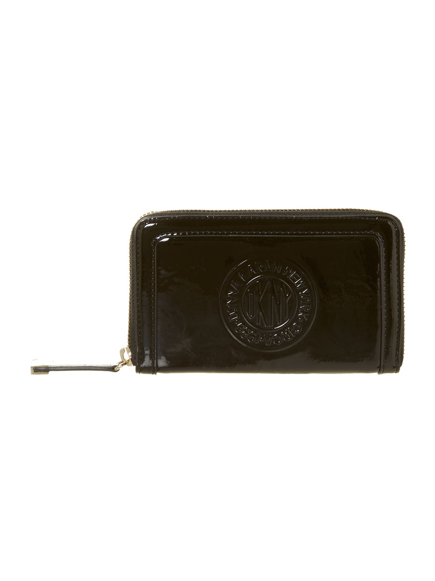 Patent logo black small zip around purse