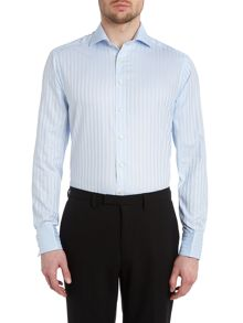 Simon Carter Satin Stripe Double Cuff Regular Fit Shirt