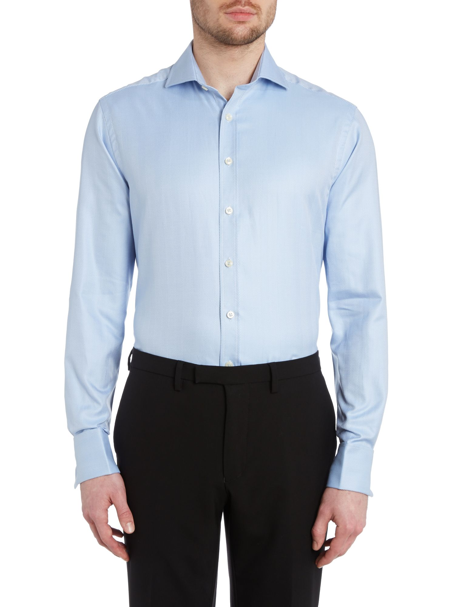Herringbone double cuff regular fit shirt