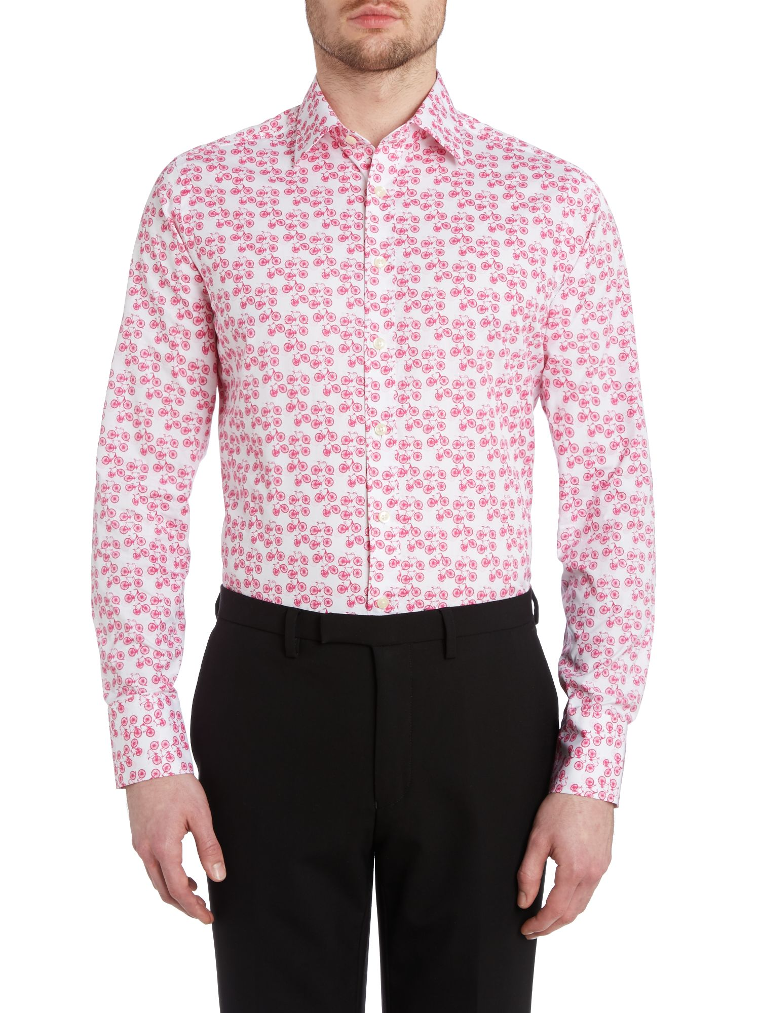 Bicycle print slim fit shirt