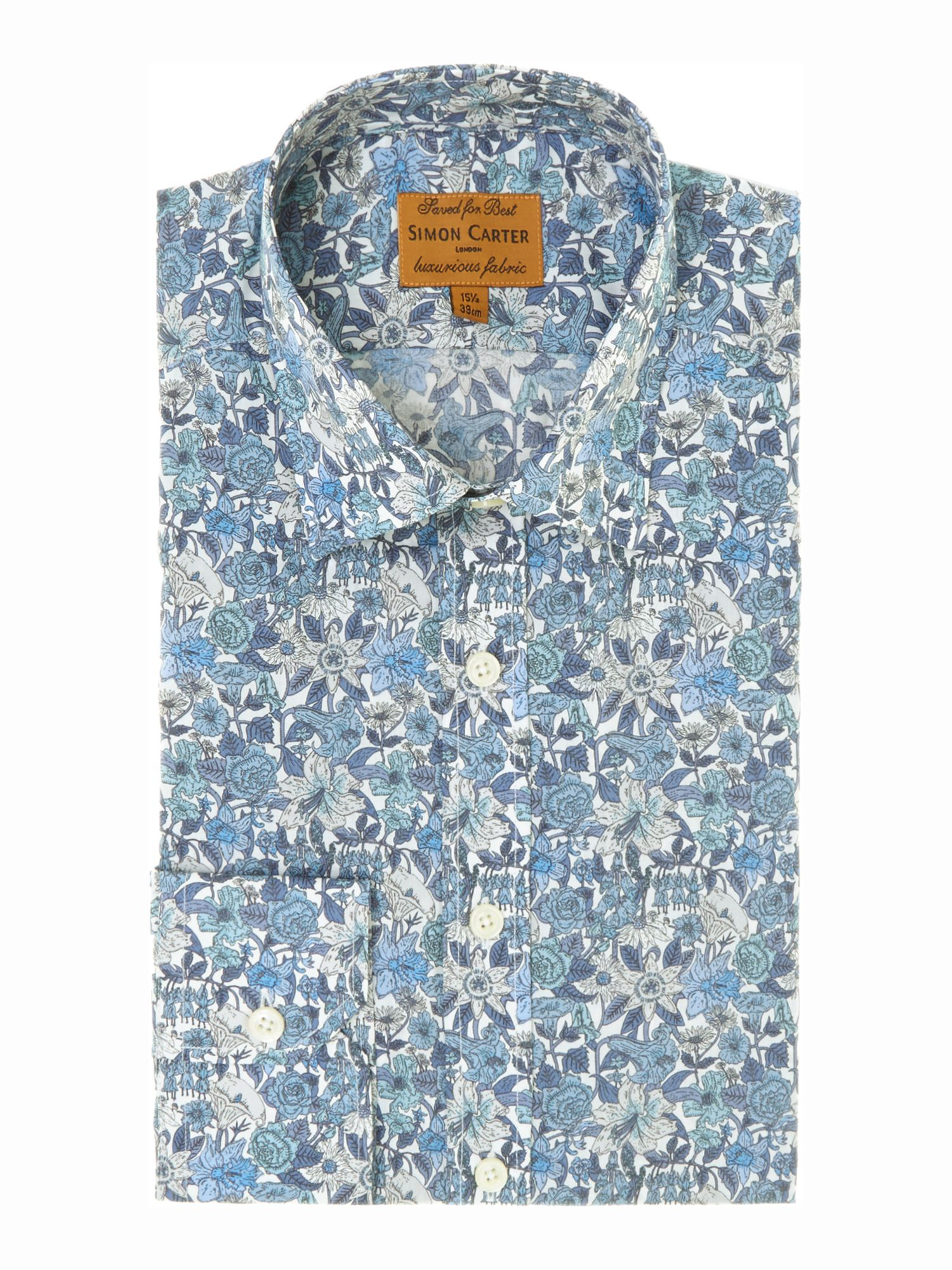 Floral point collar slim fit shirt