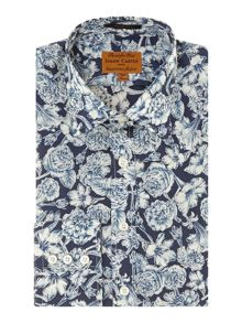 Large rose print slim fit shirt