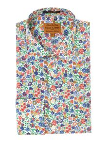 Coloured floral slim fit shirt