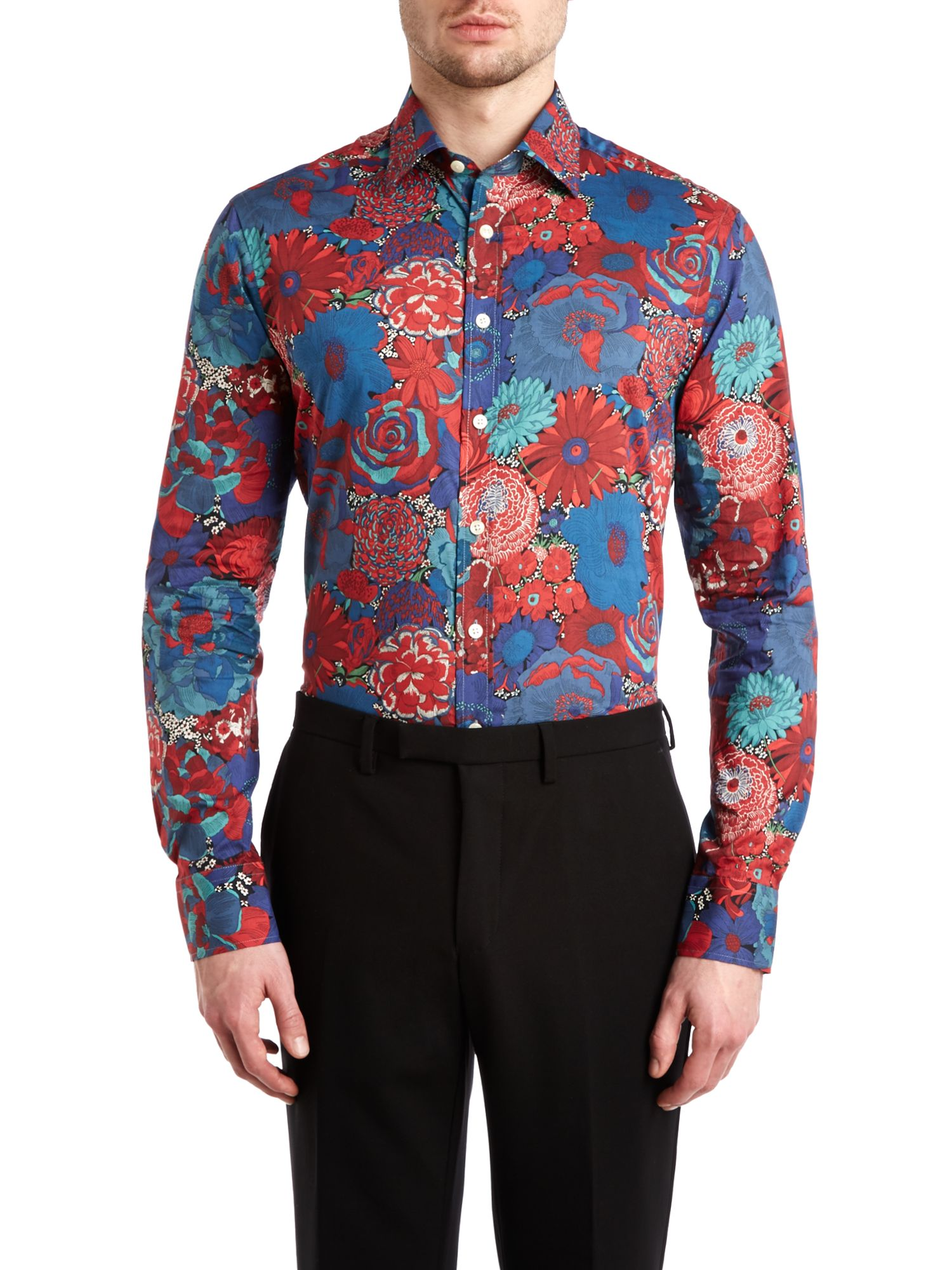 Large floral point collar regular fit shirt