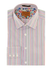 Candy stripe point collar slim fit shirt