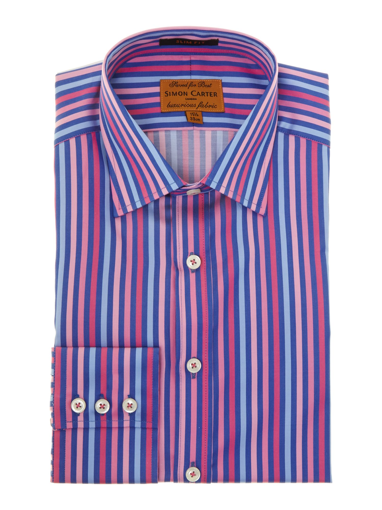 Satin bold stripe point collar slim fit shirt