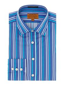 Simon Carter Satin bold stripe point collar slim fit shirt