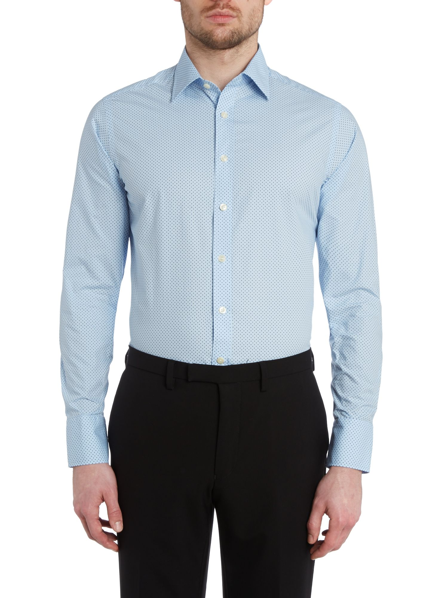 Polkadot point collar slim fit shirt