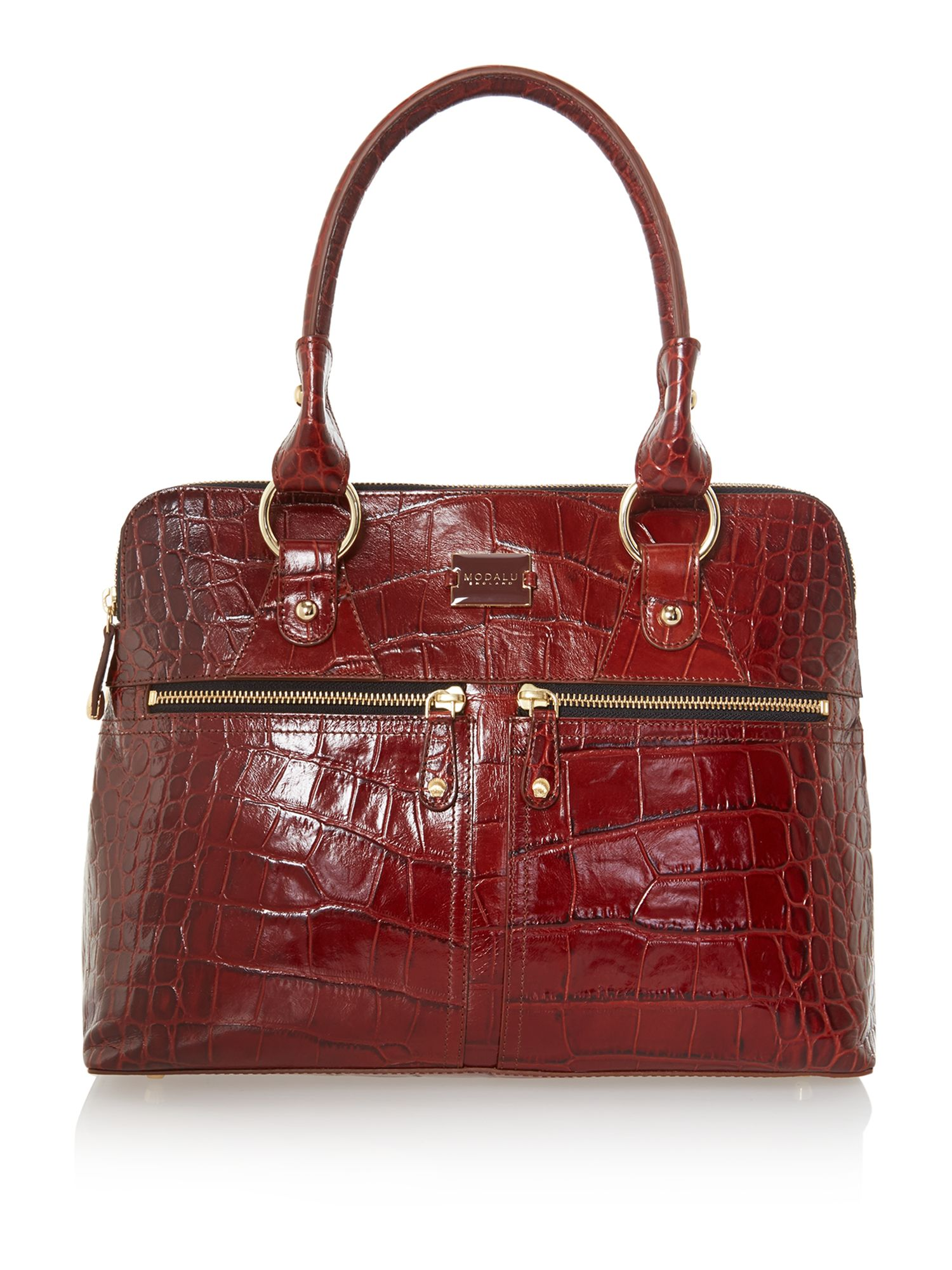 Pippa brown croc tote bag