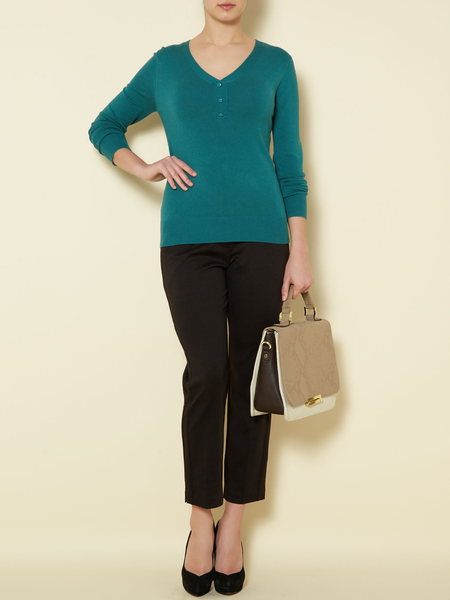 Essential v neck button jumper long sleeve