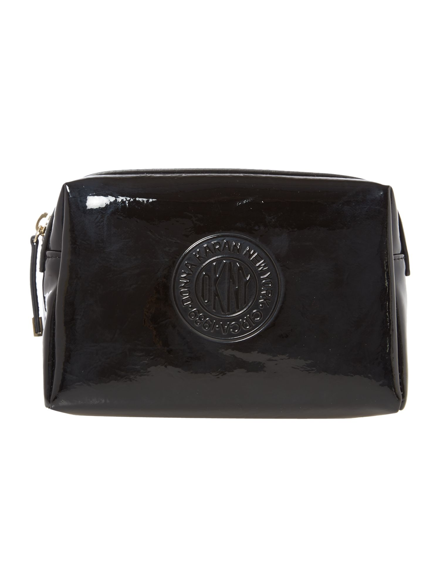 Patent logo black cosmetic bag