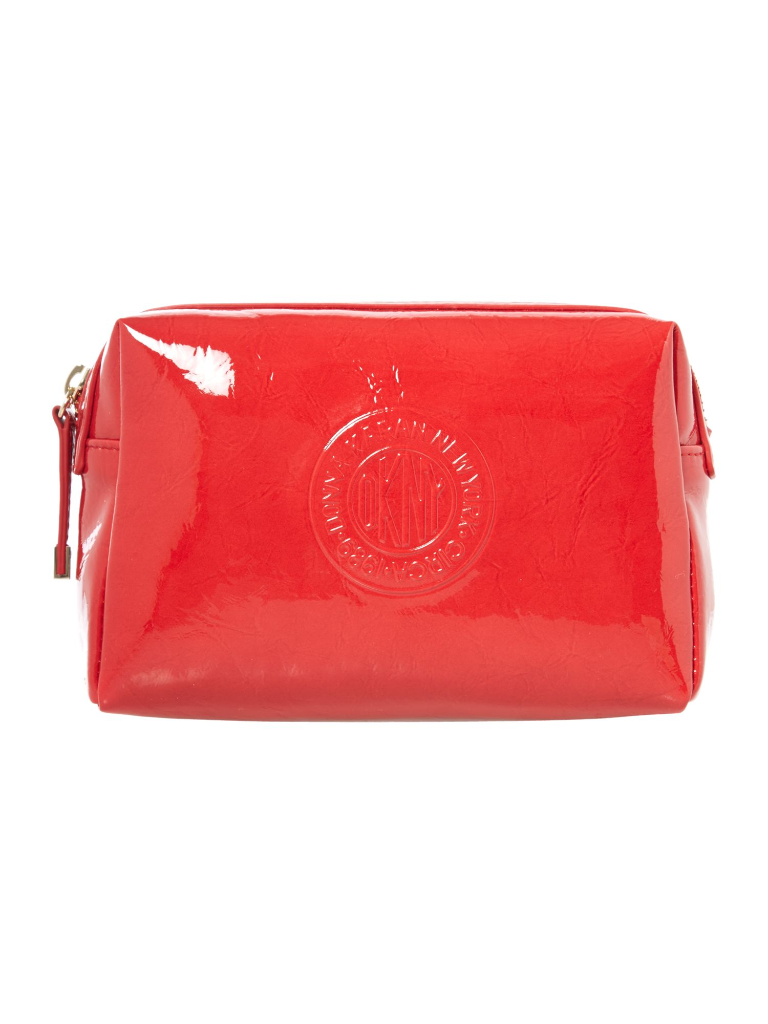 Patent logo red cosmetic bag