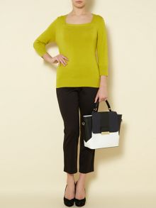 Essential square neck jumper 3/4 sleeve
